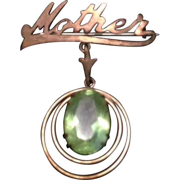Art Deco Mother Gilded Peridot Brooch