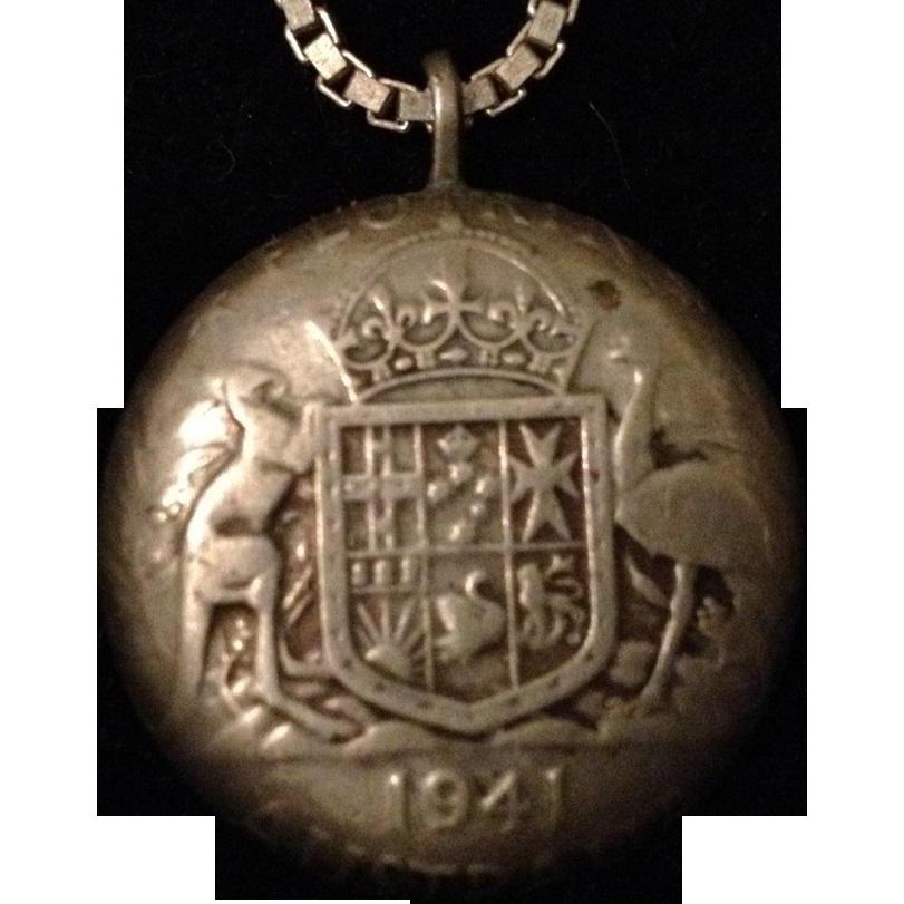 Australian Silver Coin Pendant King George VI 1941