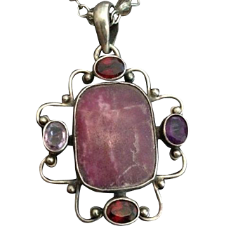 Sterling and Multi Gemstone and Rhodonite Pendant with Long Bead Link Chain