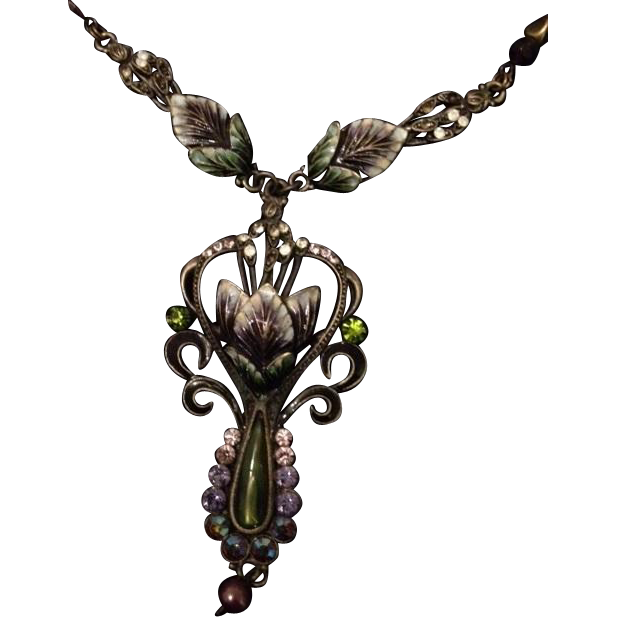 Suffragette Colors Nouveau Revival Floral Lavaliere Necklace with Enamel Work, Beads and Rhinestones.