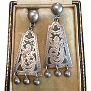 900 Silver Hand Crafted Guatemala Aztec Etched Dangle Screw Earrings