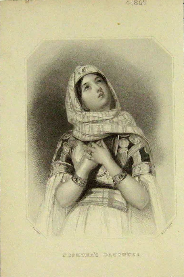 Original Orientalist Signed Book Engraving 'Jephtha's Daughter' c1845