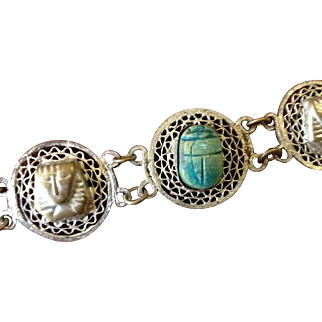 Egyptian Revival Scarab and Mummy Wirework  Bracelet