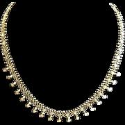 "18 Karat Yellow Gold Vintage Italian Craftsman Woven Mesh Necklace 18"""