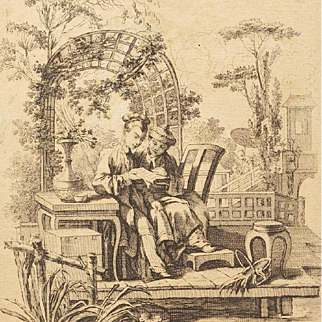 18th Century French Signed Oriental Engraving after Boucher c1750