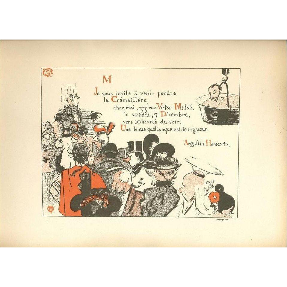 Original French Signed Party Invitation from Les Programmes Illustres 1897 Art Nouveau era.