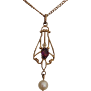 Petite and Dainty Art Nouveau Amethyst Faux Pearl and Gold Filled Pendant and chain.