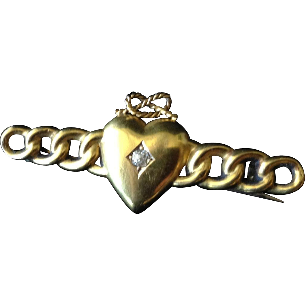 Victorian Puffy Heart Gold Fill over Sterling and Diamond Brooch c1880.
