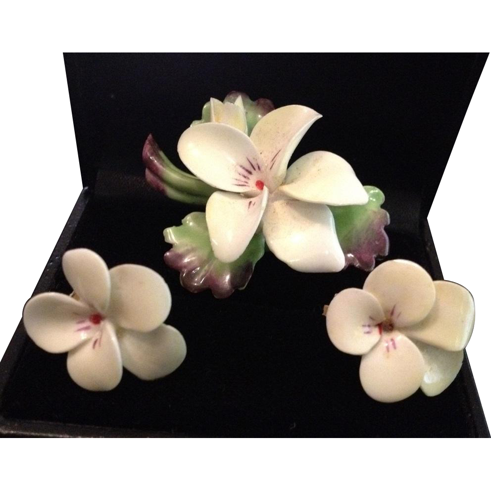Staffordshire English Bone China Hand Painted Flowers Earrings and Brooch Set.
