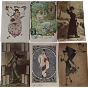 Group of 6 Antique French Bonne Annee New Years Postcards..Special Price.