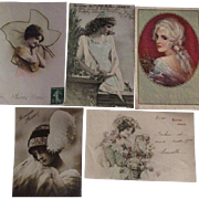 Group of 5 Antique and Vintage New Years and Christmas Greetings Postcards. Special Price.