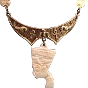 Signed Egyptian Revival Nefertiti Gold-tone Lavalier Necklace.