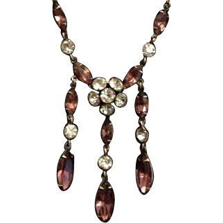 Dainty Pink and Clear Rhinestone Lavalier Necklace