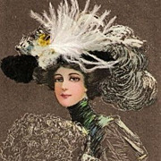 Edwardian Fashion Lady in Feather Hat Postcard 1909 - Red Tag Sale Item