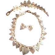 Art Deco Mother of Pearl Leaf Necklace, Bracelet and Earrings Full Parure c1930