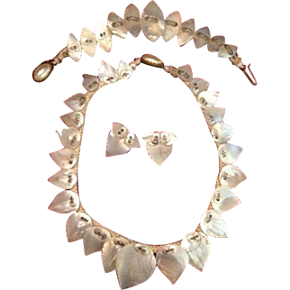 MOP Mother of Pearl Leaf Necklace, Bracelet and Earrings. Full Parure Art Deco era c1930's