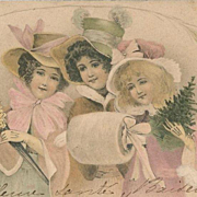 Beautiful Kirchner Art Nouveau French Christmas Maidens Postcard c1900
