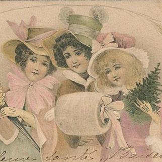 Beautiful Kirchner Art Nouveau French Christmas Maidens Postcard c1900