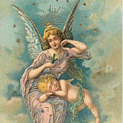 Edwardian Angel and Cherub Christmas Postcard 1909