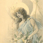 French Art Nouveau Christmas Angel Postcard c1900