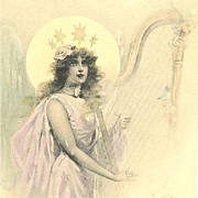French Art Nouveau Christmas Angel with Harp Postcard 1902