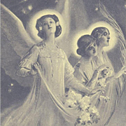 Art Nouveau Christmas Angels Postcard c1900
