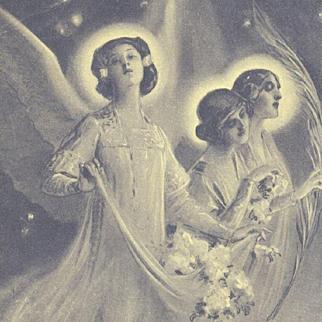 Art Nouveau Christmas Angels Postcard c1900