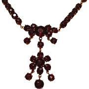 Garnet Flower Lavalier Necklace Mid Century.