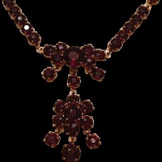 Garnet Flower Lavalier Necklace Mid Century.