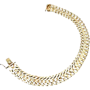 14 Karat Yellow Gold Wide Cuban-Mesh Bangle Bracelet