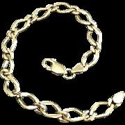 Dainty Wheat Chain 9 Karat Yellow Gold Link Bracelet Bangle