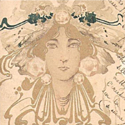 French Art Nouveau Hand Gilded Postcard 1902