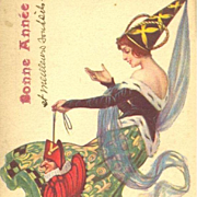 Unique Italian Artist Medieval Maiden and Jester  New Year Postcard 1918.