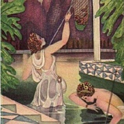 Maidens in a Pond Fishing Art Deco German Postcard c1920