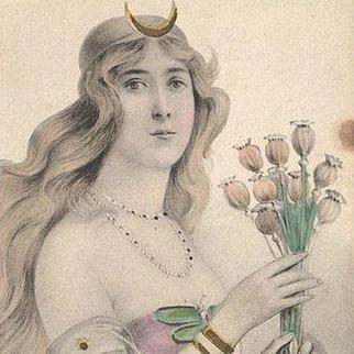 German Art Nouveau Lithographic Postcard Valkyrie c1900.