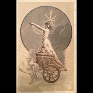 Bohemian Art Nouveau Real Photo Actress Postcard c1900.