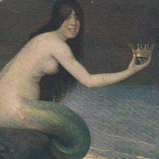 Rare Russian Mermaid with Crown Postcard c1900.