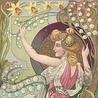 Belgian Art Nouveau Maiden with Snowdrops and Daffodils Postcard 1901.