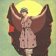 Italian Art Deco 'Flapper in a Swimsuit' Postcard 1922