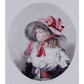 Charming 18th Century Hand Colored English Engraving 'Louisa' 1786