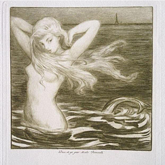 Original French Etching and Dry Point 'Sirene de Paris' 1908.