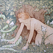 Original Victorian Lithograph 'Eve and the Serpent' from Studio Magazine 1896