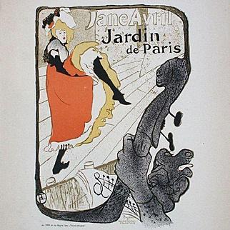 Original Toulouse-Lautrec Jane Avril Poster 1896 Les Affiches Illustrees series