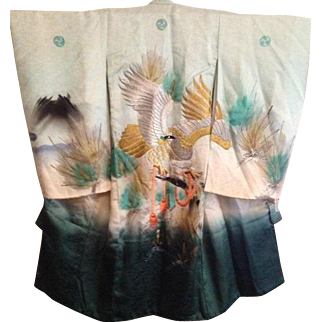 Antique Hand Painted Silk Satin Embroidered Hawk in Pine Tree Child's Ceremonial Kimono