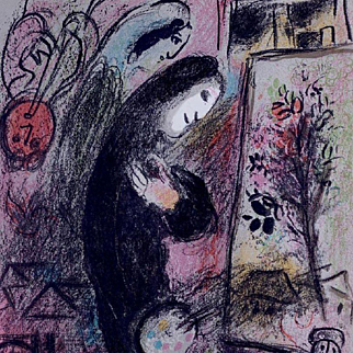 Chagall Color French Lithograph 'Inspiration' 1963.