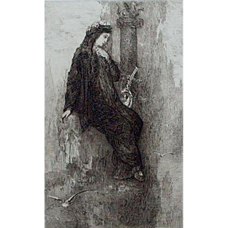 Original French Etching 'Sappho' by Charles Courtry after Gustave Moreau  1897.