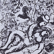 Chagall Black and White French Lithograph 'Le Couple a L'Arbre' 'Lovers Under a Tree' 1963.