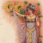 Art Nouveau Swiss Bonne Annee Young Woman with Gold Belt Postcard 1903