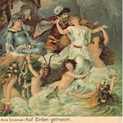 German Nude Water Sprites Opera Postcard c1900