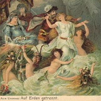 SALE: German Nude Water Sprites Opera Postcard c1900